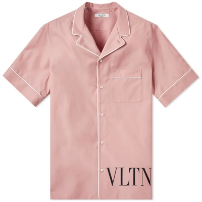Pink Valentino Vacation Shirt With White Trim And Vltn Print