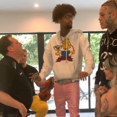 Pnb Rock Wearing An Off White Bart Simpson Hoodie With Lil Skies Who Is Pictured Wearing A Black Gucci Hoodie On Instagram