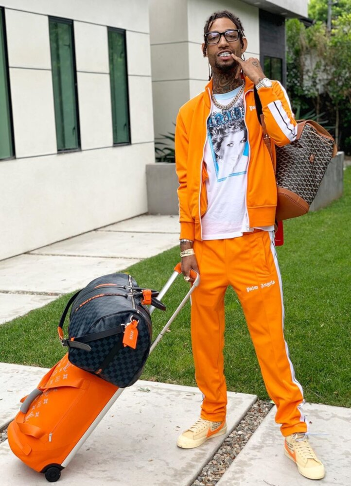 Pnb Rock Wearing An Off Whtie Diana Shirt With Palm Angels Orange Tracksuit And Nike X Offwhite Sneakers