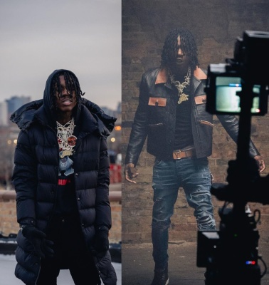 Polo G Bts In A Moncler Coat Amiri Leather Jacket Lv Belt An Amiri Jeans