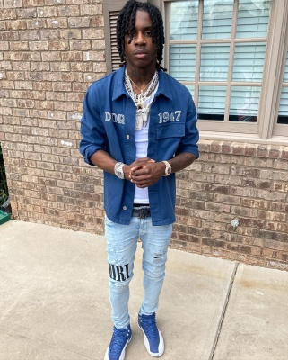 Polo G Wearing A Dior Denim Shirt With Lv Belt Amiri Jeans And Jordans In Ig Fit Pic