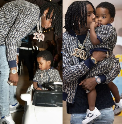 Polo G Wearing A Dior Oblique Track Jacket Navy Terry Obliqe Shirt And Dior B27 Sneakers