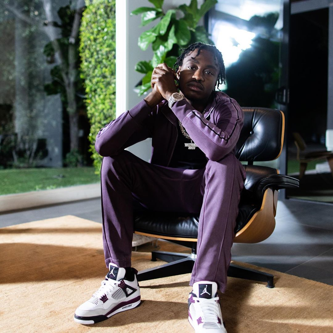 Polo G Wearing A Purple Palm Angels Tracksuit Psg X Jordan 4s Incorporated Style