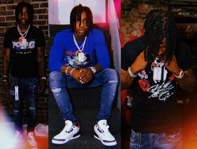 Polo G Wearing New Gina And Martin Merch Shirt With Purple Jeans And Jordan 3s