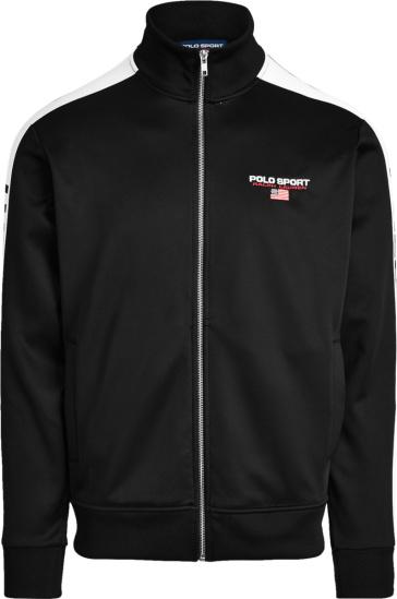 Polo Ralph Lauren Black And White Stripe Polo Sport Track Jacket
