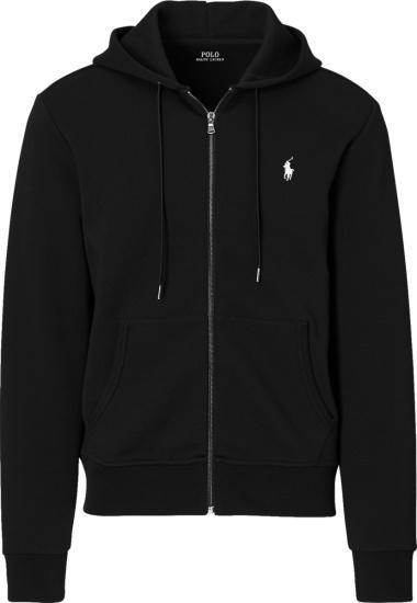 Polo Ralph Lauren Black Double Knit Zip Hoodie
