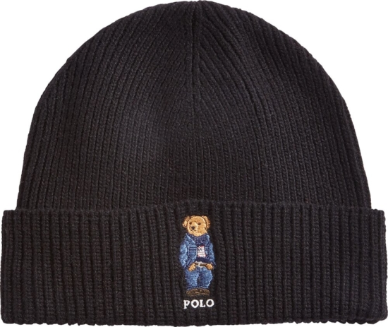 Polo Ralph Lauren Denim Bear Embroidered Black Beanie