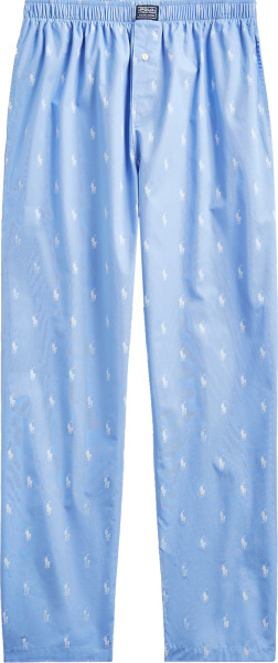 Polo Ralph Lauren Light Blue And Allover White White Pajama Pants