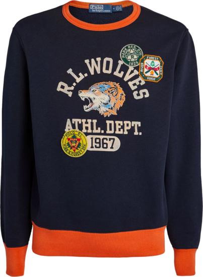 Polo Ralph Lauren Navy And Orange Trim Wolves Sweatshirt