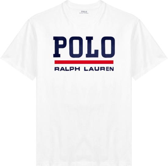 Polo Ralph Lauren White And Navy Logo Print T Shirt