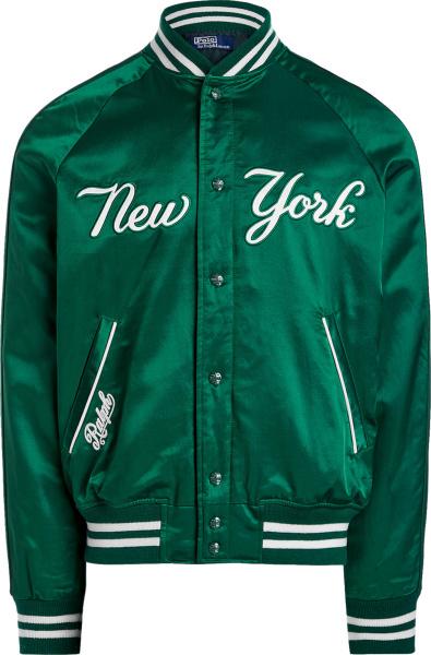Polo Ralph Lauren X New York Yankees Dark Green Satin Bomber Jacket