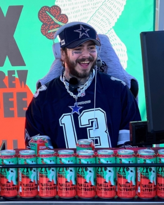 Post Malone Promotes Coffe Company In Dallas Cowboys Hat And Jersey