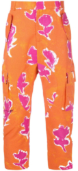 Prabal Gurung Floral Canvas Pants With Orange And Pink Abstract Designe Worn By Swae Lee