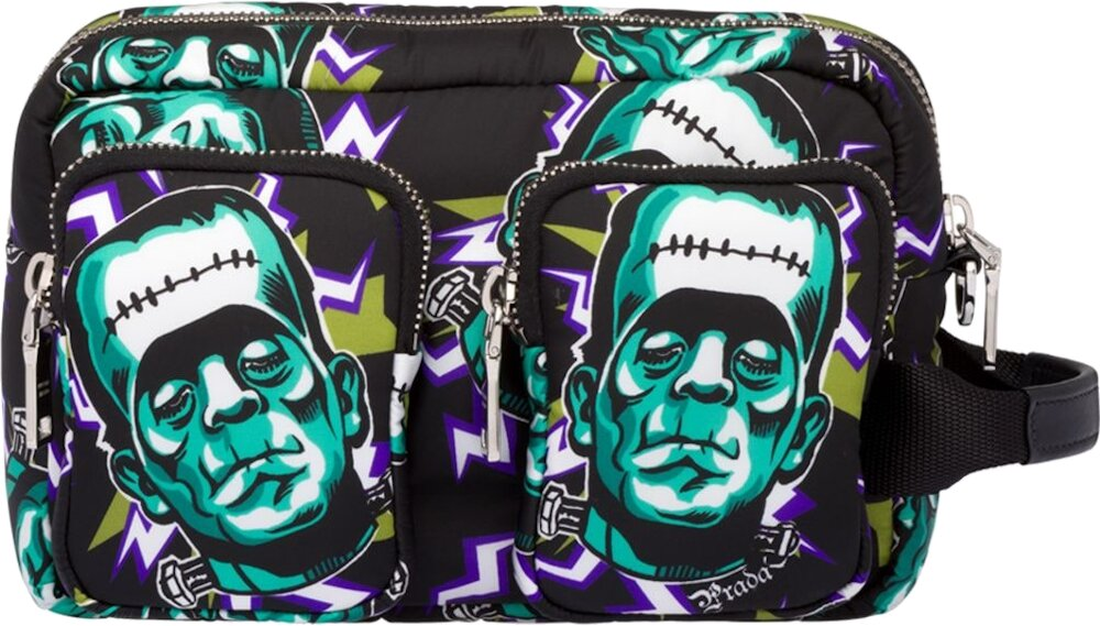Prada Allover Frankenstein Print Zipped Pouch