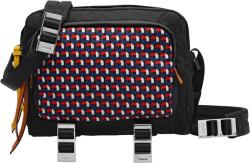 Prada Black And Grid Print Camera Bag