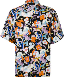 Prada Black And Multicolor Floral Print Shirt