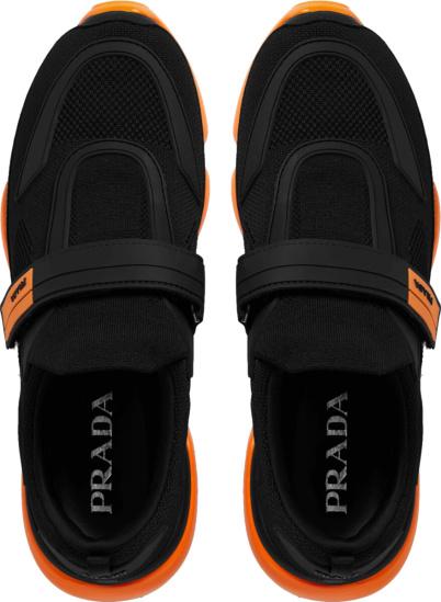 Prada Black And Orange Cloudbust Sneakers