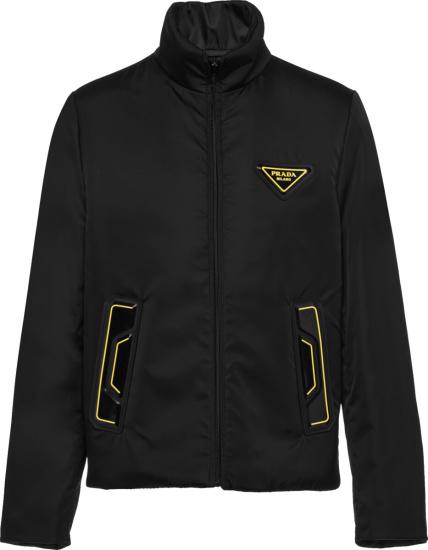 Prada Black And Yellow Trim Shirt Jacket