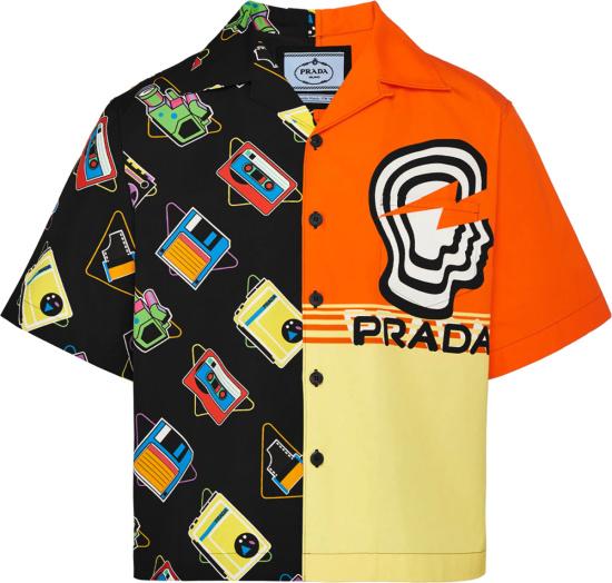 Prada Black Casette And Orange Yellow Split Double Match Bowling Shirt