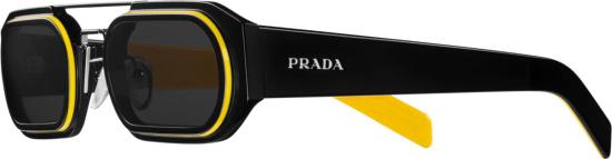 Prada Black Flat Oval Sunglasses