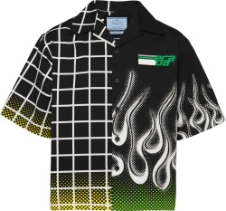 Prada Black Grid And Flame Double Match Shirt