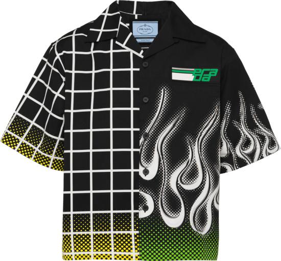Prada Black Grid And Flame Double Match Shirt