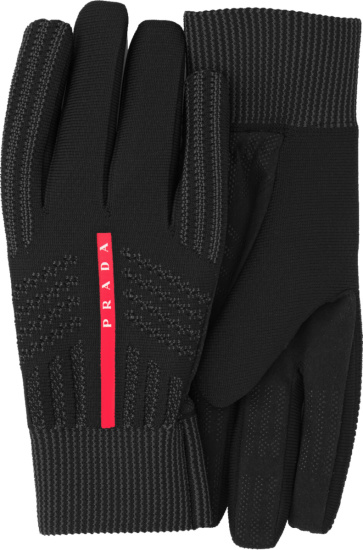 Prada Black Knit Windproof Knit Gloves 4gg116 3k5x F0002