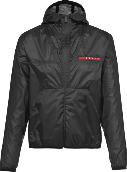 Prada Black Lr Lx034 Hooded Nylon Ripstop Jacket Sgb709 1s0f F0002 S 211