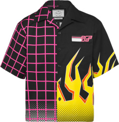 Prada Black Neon Pink Grid And Yellow Flame Print Double Match Shirt Ucs319 1you F0ykc S 182