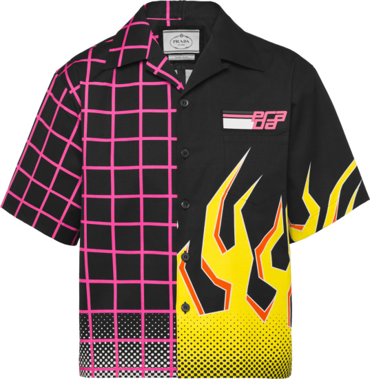 Prada Black Neon Pink Grid And Yellow Flame Print Double Match Shirt Ucs319 1you F0ykc S 182