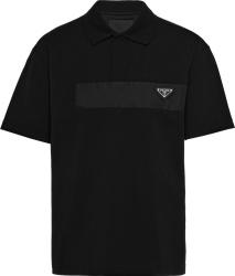 Black Nylon-Stripe Polo