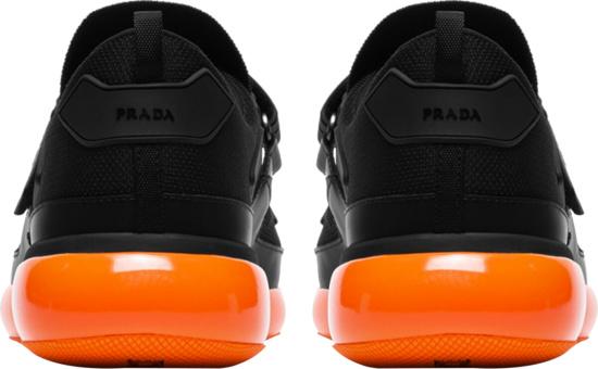 Prada Black Orange Strap Sneaker Socks