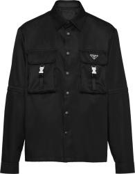 Prada Black Re Nylon Cargo Convertible Shirt Sc548 1wq8 F0002 S 212