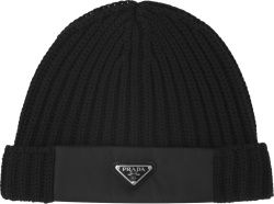 Prada Black Re Nylon Panel Knit Beanie Hat