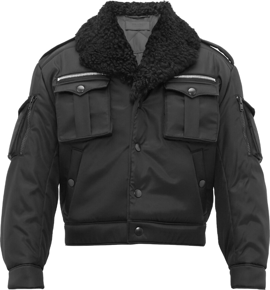 Prada Black Shearling Collar Bomber Jacket