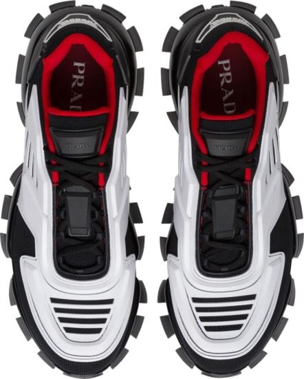Prada Black White Red Cloudbust Thunder Sneakers