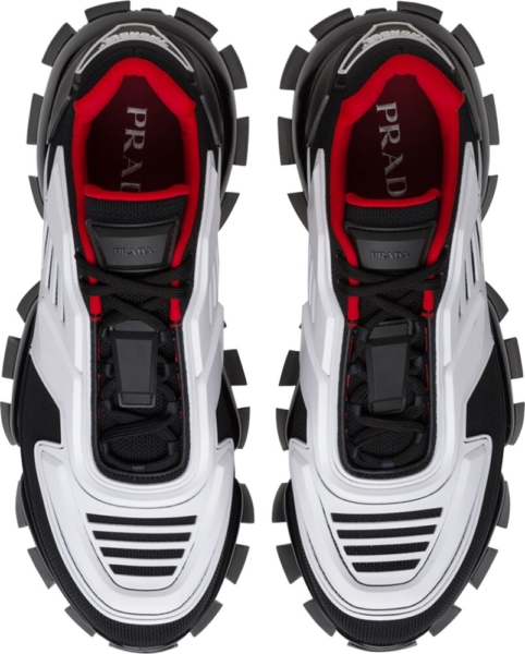 Prada Black White Red Cloudbust Thunder Sneakers