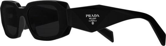 Prada Black Wide Upside Down Triangle Temple Sunglasses