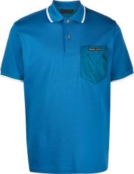 Prada Blue And White Trim Polo Shirt