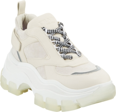 Prada Chunky Sole Ivory Suede Sneakers