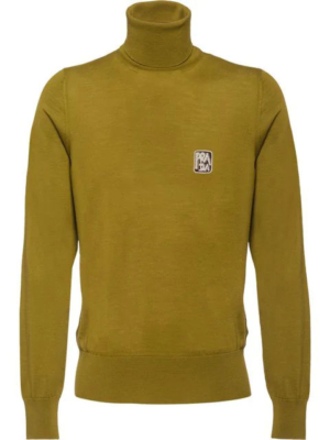 Prada Green Logo Knit Turtuleneck Sweater
