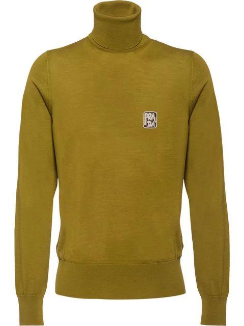 Prada Green Logo Knit Turtuleneck Sweater
