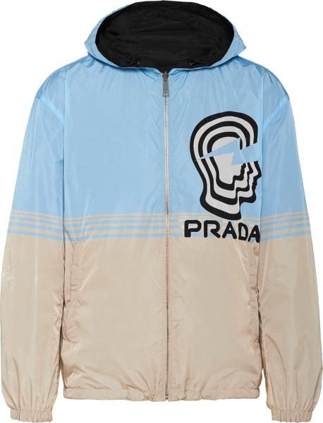 Prada Light Blue And Beige Head And Logo Print Windbreaker Jacket