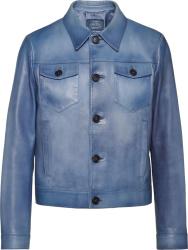 Prada Light Blue Waxed Leather Jacket