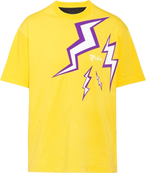 Prada Lighting Bolt Print Yellow T Shirt