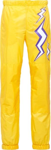 Prada Lighting Bolt Yellow Nylon Pants