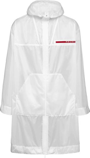 Prada Linea Rossa Clear Hooded Long Rain Coat