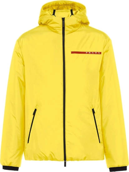 Prada Logo Stripe Yellow Jacket