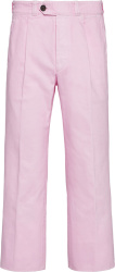 Prada Men Pink Pleated Loose Fit Jeans