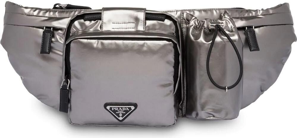 Prada Metallic Silver Tone Belt Bag